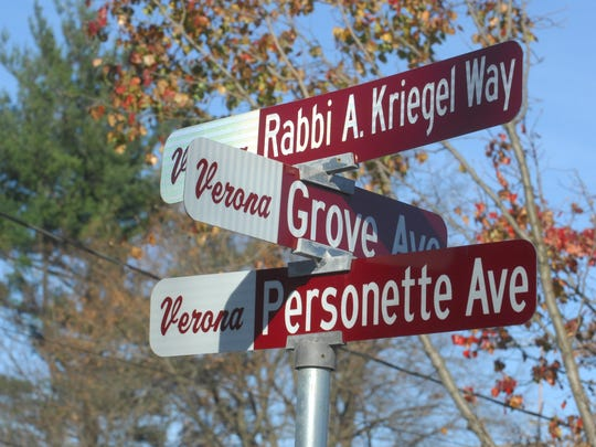 Rabbi Alter Kriegel , the first spiritual leader of Congregation Beth Ahm of West Essex, from 1936 to 1974, when it was known as Jewish Community Center of Verona, is remembered in 2011 by the Verona community with the renaming of Personette Avenue at the Grove Avenue intersection in Rabbi Kriegel's honor.