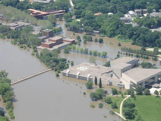 Flooding at the University of Iowa's Hancher Auditorium on Monday, June 16, 2008.