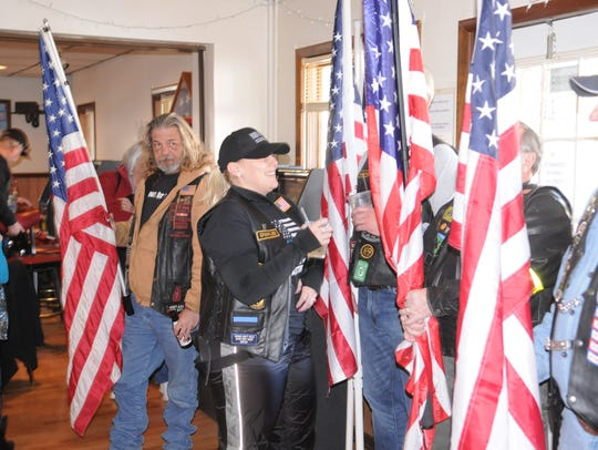 Veterans line up to welcome Bayard Horn to the Veterans