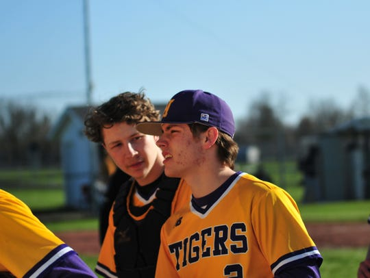 Hagerstown's Cameron Purtha, left, and Trent Weiss