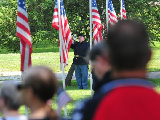 The Veteran's Field of Honor at Earlham Cemetery in Richmond hosted its Memorial Day service in 2018.