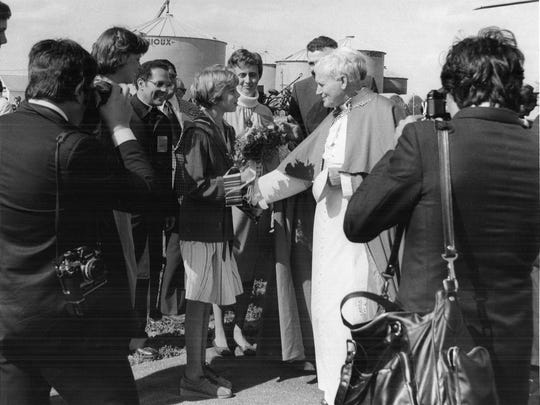 Pope John Paul II visits St. Patrick's Church in Cumming on Oct. 4, 1979.