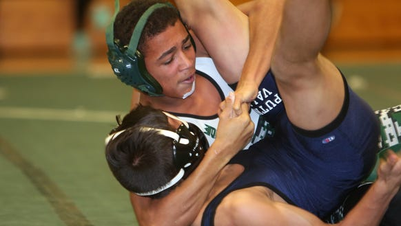 Pleasantville's Nayshawn Marks on his way to pinning