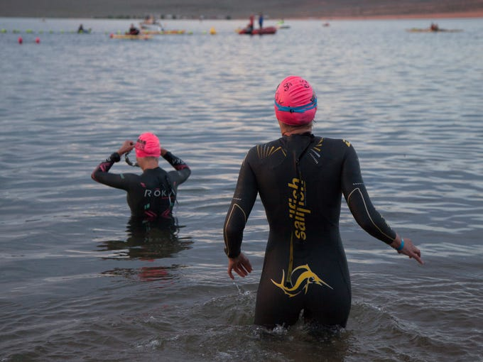 Athletes compete in the St. George Ironman Saturday,
