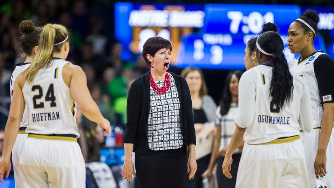 Notre Dame coach Muffet McGraw yells at players during the second half of an NCAA tournament game against North Carolina A&T.