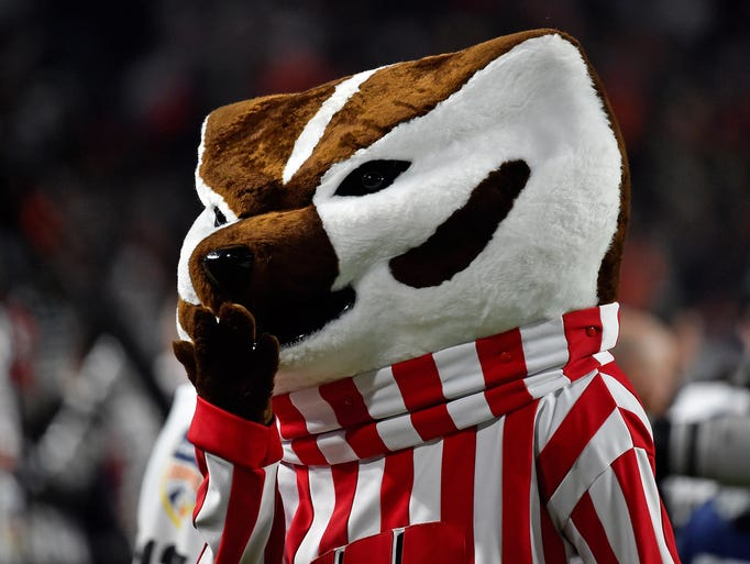 Wisconsin mascot Bucky Badger looks on during Wisconsin's