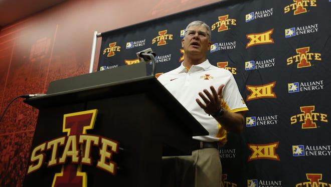 Iowa State football coach Paul Rhoads' team will take on Kansas at 11 a.m., on Oct. 3.