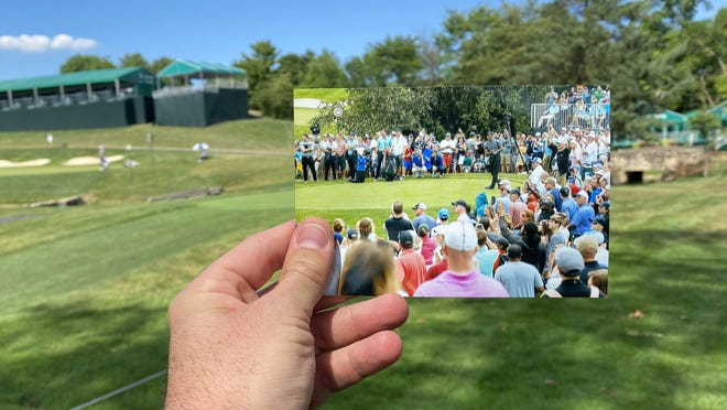 A photo of spectators from the 2019 Memorial Tournament on holes 14 and 15 is held in the same spot it was taken one year later at the 2020 tournament being played without spectators due to COVID-19 at Muirfield Village Golf Club in Dublin.