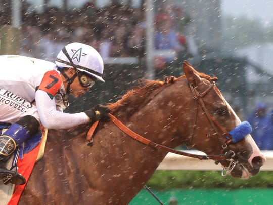 Justify, ridden by Mike Smith, wins the 144th Kentucky Derby. May 5, 2018
