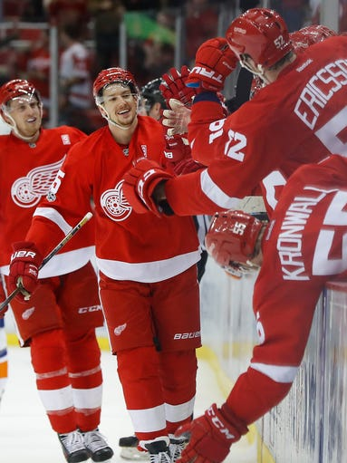 Detroit Red Wings defenseman Danny DeKeyser celebrates