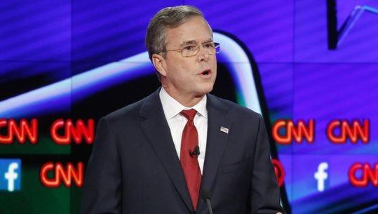 Jeb Bush speaks during the Republican presidential debate Tuesday in Las Vegas.