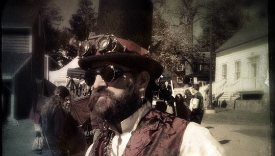 """""""Prof Adam Smasher"""" of The Eternal Frontier , one of the steampunk music groups performing live at Steampunk Boonton."""