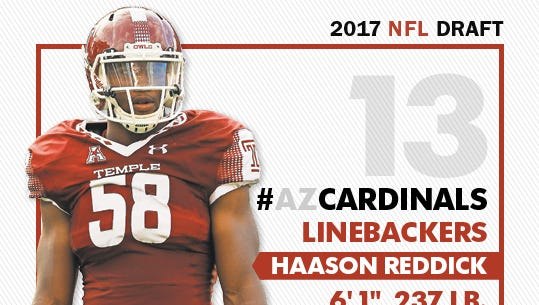 The Arizona Cardinals selected Haason Reddick with the 13th pick in the 2017 NFL Draft