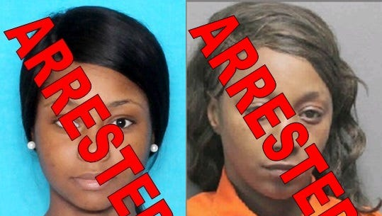 Merkesha Living (left) and Devona Living (right) were arrested and charged with theft after allegedly eating at a Scott restaurant and leaving without paying