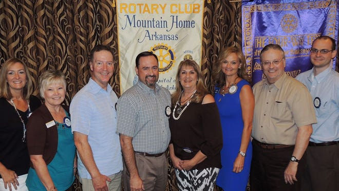 """The Rotary Club of Mountain Home recently installed their new officers and board for 2016-17.  Members are: (from left) President Susan Holsted Stockton, President-Elect Jewel Pendergrass, Board member Mark Hopper, Board member Matthew Taylor, Board member Kriss Yunker, Past President Sally Gilbert, Secretary Jack Clayton, and Treasurer Allen Moore. These Rotarians will lead the club this year in their programs and projects for the benefit of people locally and globally, under the international theme of """"Rotary Serving Humanity."""""""