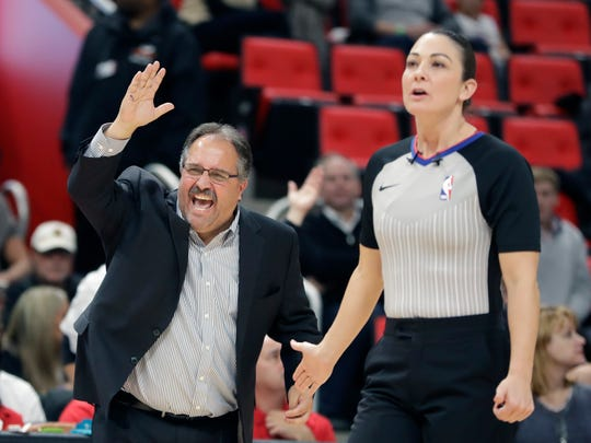 Pistons coach Stan Van Gundy argues a call with referee Lauren Holtkamp during the second half of the 111-104 win over the Hawks on Friday, Nov. 10, 2017, at Little Caesars Arena.