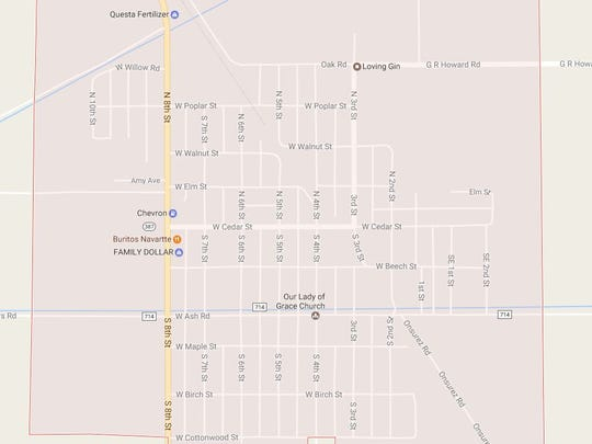 A map of the city of Loving, New Mexico