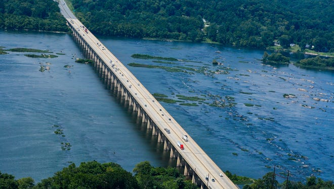 An aerial shot of the Susquehanna River, south of the location of Monday's river search. (Photo by John A. Pavoncello - jpavoncello@yorkdispatch.com)