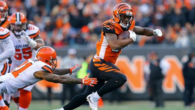 Bengals running back Joe Mixon had his first career 100-yard game in Week 12 vs. Cleveland.