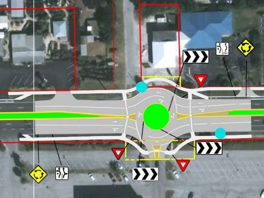 This graphic depicts the proposed roundabout at the