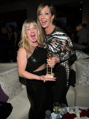 Figure skater Tonya Harding (left) and actress Allison Janney attend the InStyle and Warner Bros. 75th Annual Golden Globe Awards Post-Party at The Beverly Hilton Hotel on January 7, 2018 in Beverly Hills, California.