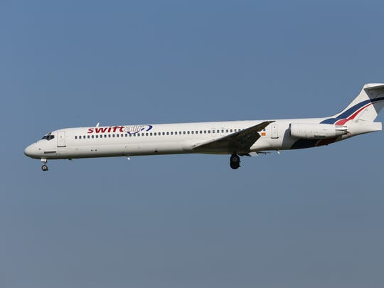 This photo taken on Friday, May 16, 2014 shows an MD-83 aircraft in the livery of Swiftair landing at Zaventem Airport Brussels.