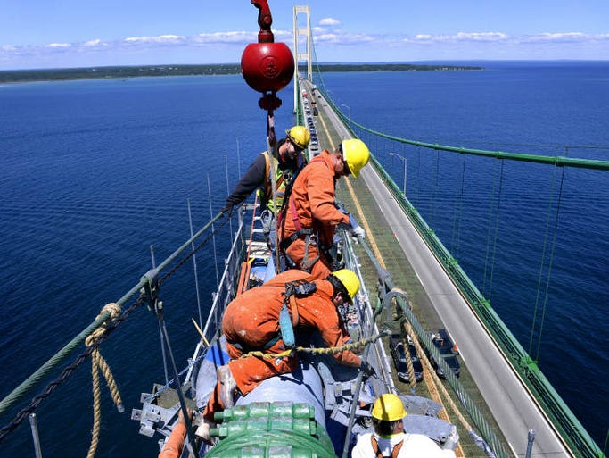 Working hundreds of feet above the blue water of the Straits of Mackinac below, Mackinac Bridge Authority employees Joe Schlehuber, Terry Speck and Fred Spinella, from foreground to background, move the rigging and cable winding system as they rewind the outer cable casing after a main cable inspection on the Mackinac Bridge. Workers on the bridge are responsible for a wide variety of repairs and upkeep on the bridge, which was opened to traffic in 1957.  The suspension section of the five-mile-long bridge is 7,400 feet long and the total length of wire in the large main cables is 42,000 miles.