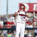 Louisville's Blake Tiberi hits an RBI-double against Ohio State on June 4. Tiberi, a Holy Cross graduate, was selected in the third round of the 2016 MLB Draft on June 10.