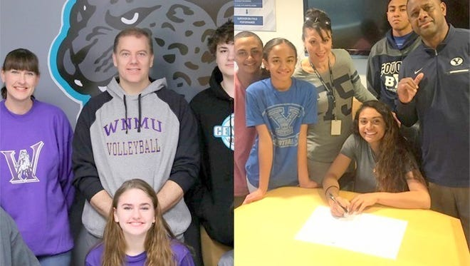 From left, are Delaney Seitz and Selai Damuni are set to join the Western New Mexico University volleyball team for the 2017 season after signing National Letters of Intent in November.
