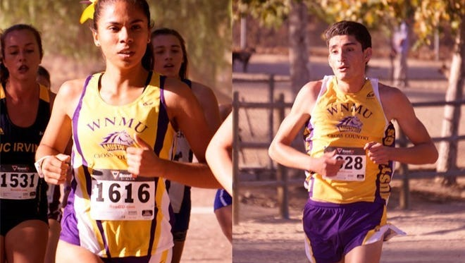 Guadalupe Cantoran, left, and Jose Rojas capped off senior careers as cross country runners for WNMU.