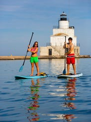 Stand-up paddle boarding in Manitowoc.