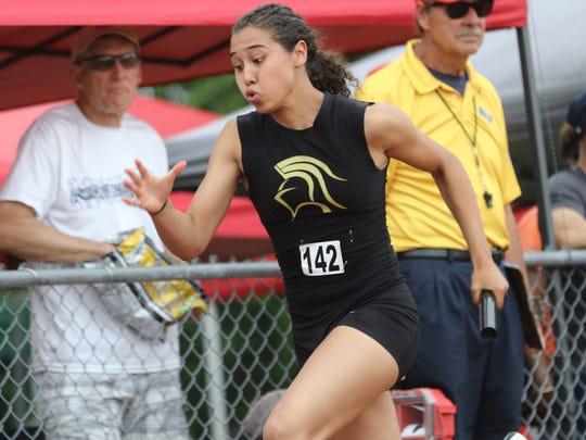 Tiffany Bautista, of Paramus Catholic, anchored the second place 4x100 team. Saturday, June 9, 2018