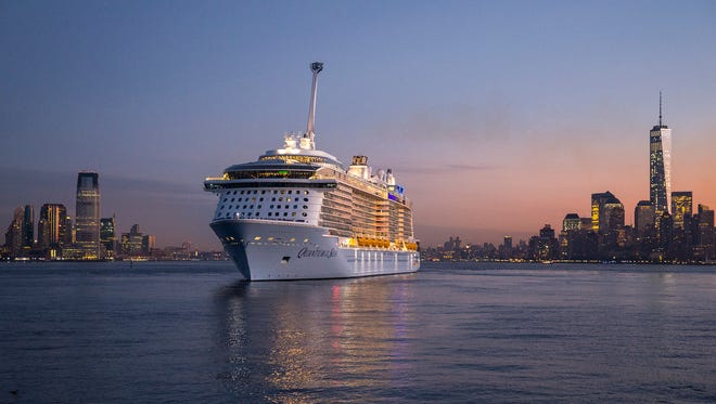 Royal Caribbean's Quantum of the Seas arrives in New York on Nov. 10, 2014.
