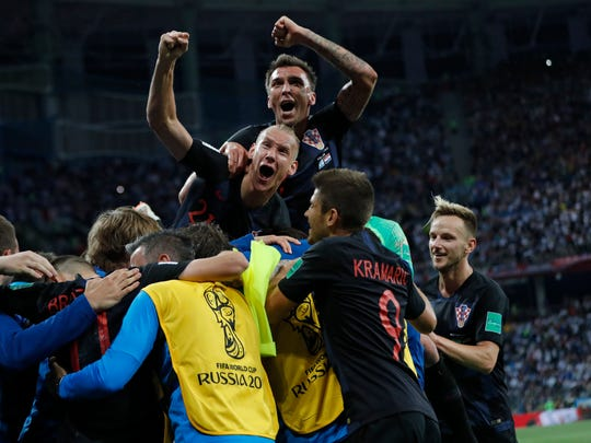 Croatia players celebrate after Luka Modric scored during a match against Argentina at the 2018 World Cup on June 21.