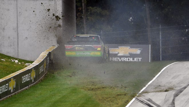 James Davison crashes in Turn 6 on the the 20th lap of the NASCAR Xfinity Series Johnsonville 180 on Sunday at Road America