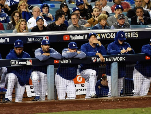 Game 7 at Dodger Stadium: Dodgers players look on from