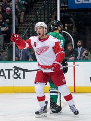 Red Wings left wing Justin Abdelkader (8) celebrates a goal against the Stars during the second period on Tuesday, Oct. 10, 2017, in Dallas.