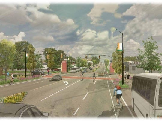 A rendering shows the city's proposed Magnolia Avenue streetscapes project.