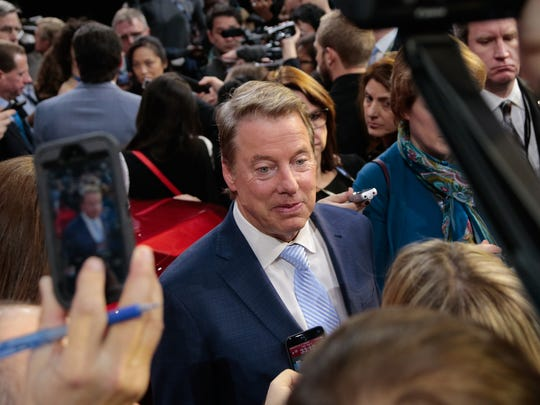 Ford Executive Chairman Bill Ford speaks to journalists after the Ford unveiling for the 2017 North American International Auto Show held at the Joe Louis Arena in Detroit on Monday, Jan. 9, 2017.