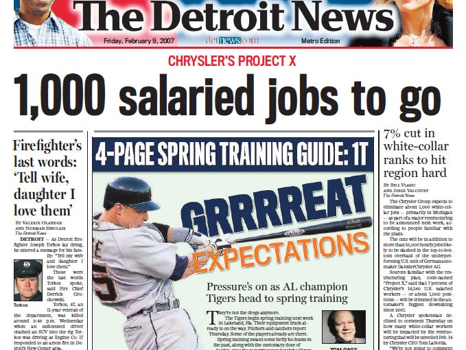 View the front page of The Detroit News each day of the week of February 5, 2007