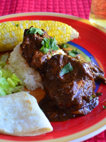 This mole sauce comes together in a slow cooker and