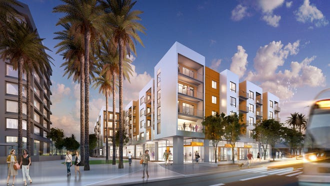 A rendering of a proposed apartment building for low-income seniors next to City Hall in downtown Mesa.