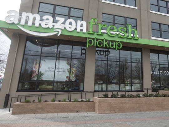An AmazonFresh Pickup storefront is pictured on March