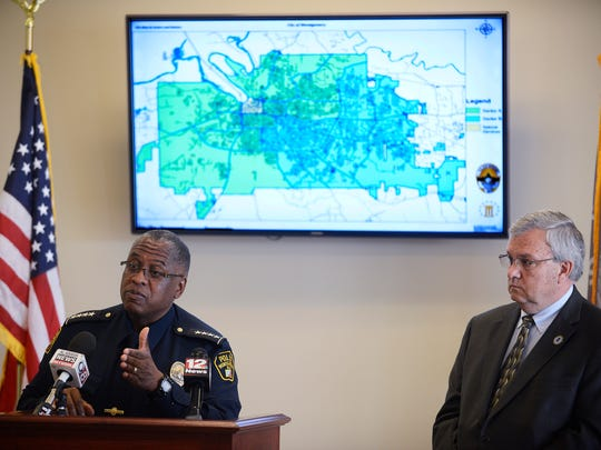 Montgomery Police Chief Ernest Finley, Jr., and Montgomery Director of Public Safety Chris Murphy discuss the restructuring of the MPD during a news conference at the Department of Public Safety South Central facility in Montgomery, Ala. on Friday April 10, 2015.