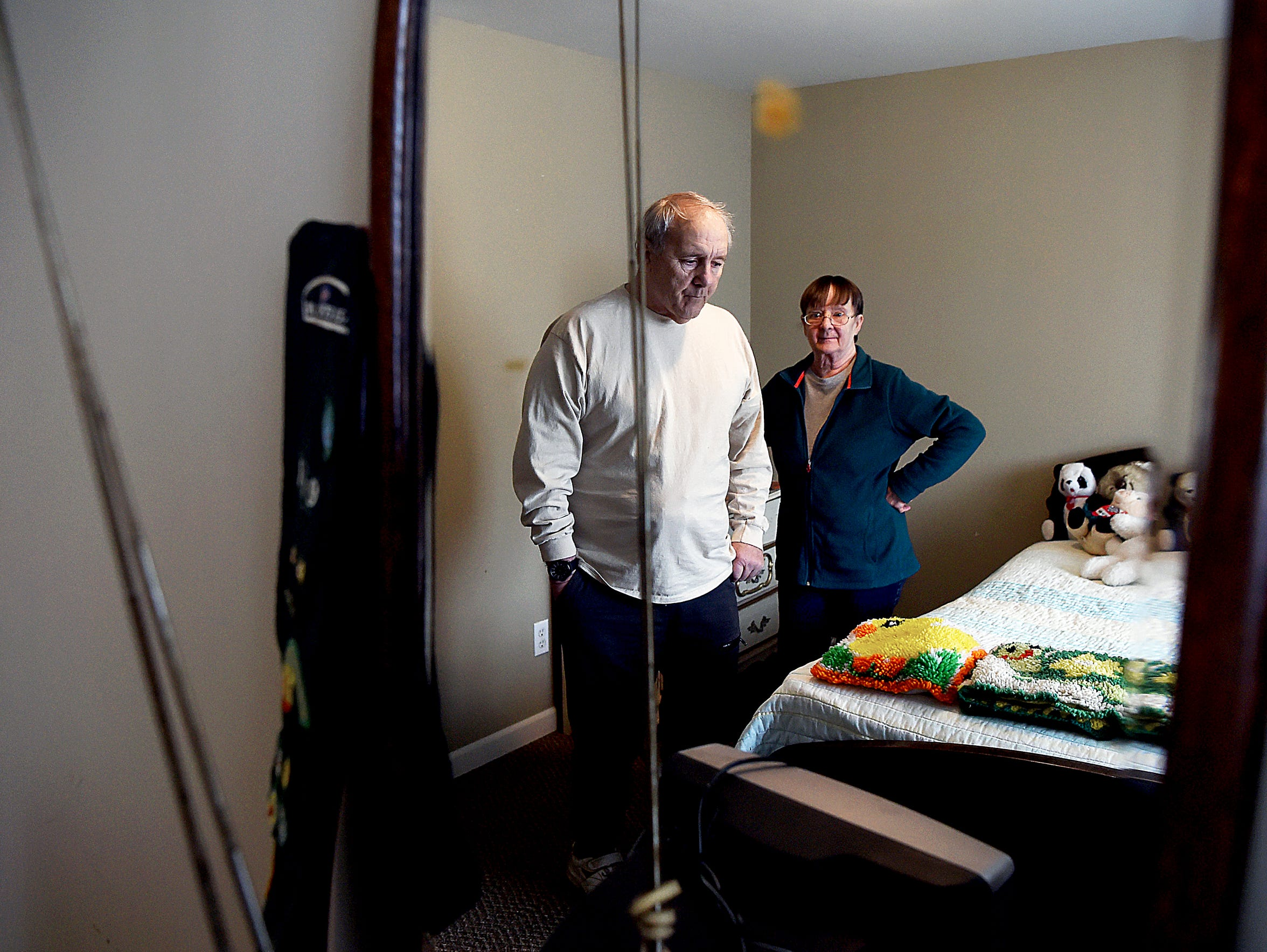 David and Jean Lindsey in the bedroom of their daughter