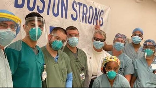"Staff at Newton-Wellesley Hospital sent a ""Boston Strong"" banner to St. Luke's Medical Center in Houston."