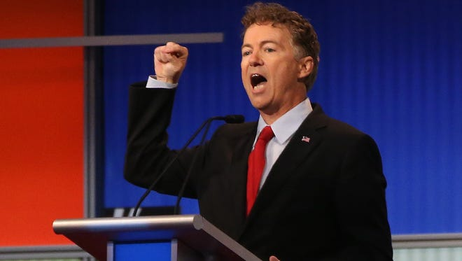 Republican presidential candidate Sen. Rand Paul. R-Ky.,  speaks during the first Republican presidential debate.
