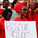 """In a demonstration similar to dozens of others worldwide, women in Abuja, Nigeria, on Tuesday attend a demonstration calling on government to rescue kidnapped schoolgirls. A government official said """"all options are open."""""""