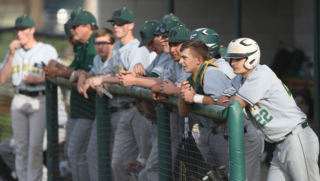 Bryce Tweedt (22) looks on during a 2018 Red Bluff baseball game.