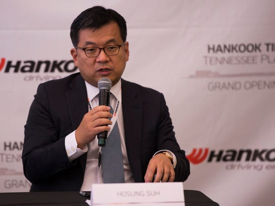Hosung Suh, Hankook Tire America Corp President, speaks at the grand opening press conference for Clarksville's new plant on October 17, 2017.